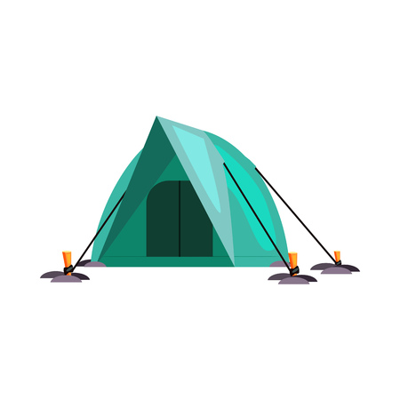 Camping in mountains. Tent, dome, shelter, canvas. Vector illustration can be used for topics like outdoor tourism, climbing, alpinism, rocky mountains 일러스트