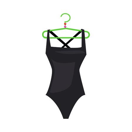 Traje de baño. Traje de baño femenino negro en percha verde. La ilustración vectorial se puede utilizar para temas como playa, piscina, trajes de baño.