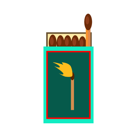 Matches box. Fire, matchbox, matchsticks. Vector illustration can be used for topics like outdoor tourism, campfire, campsite Illustration