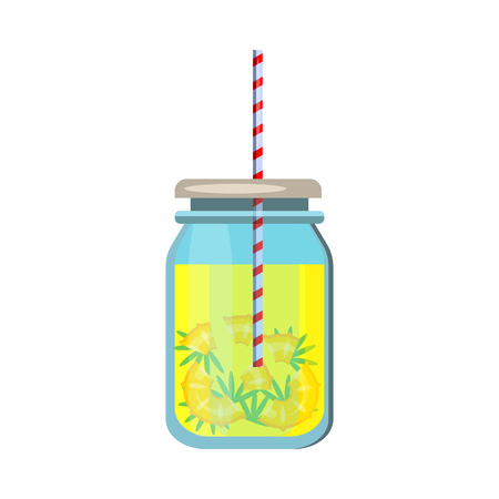 Pineapple water. Glass jar, straw, slices. Vector illustration can be used for topics like drink, beverage, summertime, heat