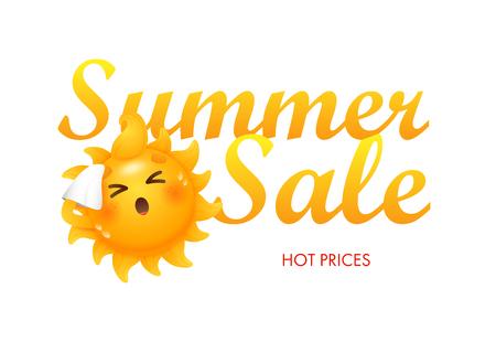Vente d'été, lettrage de prix chauds avec personnage de dessin animé de soleil. Offre d'été ou conception publicitaire de vente. Texte manuscrit et dactylographié, calligraphie. Pour des dépliants, des invitations, des affiches ou des bannières.
