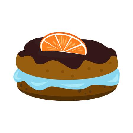 Double biscuit with blue jelly, chocolate glaze and slice of orange. Dessert, cream, topping. Vector illustration can be used for topics like bakery, coffee break, confection
