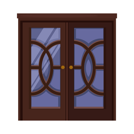 Entrance. Dark wooden double door with glass and knobs. Vector illustration can be used for topics like doorway, house, exterior