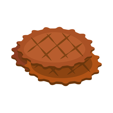 Stack of cookies. Snack, biscuit, waffle. Vector illustration can be used for topics like bakery, pastry, coffee break