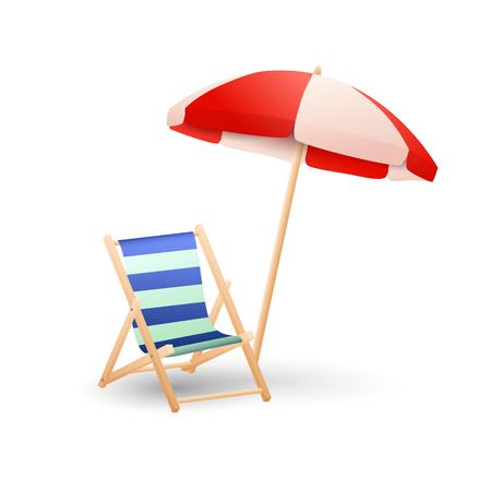 Ilustración de vector de chaise lounge y sombrilla. Playa, descanso, baños de sol. Concepto de vacaciones. La ilustración vectorial se puede utilizar para temas como verano, viajes, recreación.