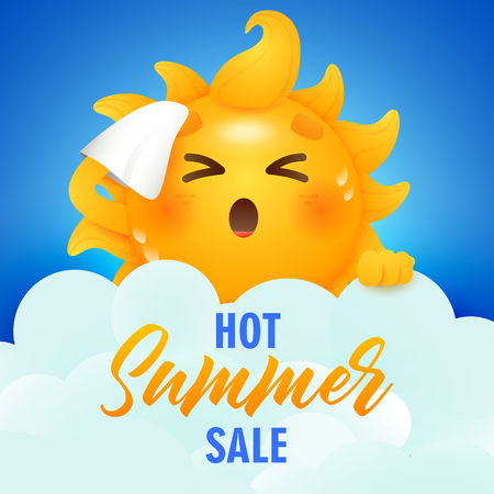 Hot summer sale lettering and sun cartoon character. Tourism, summer offer or sale advertising design. Handwritten and typed text, calligraphy. For leaflets, brochures, invitations, posters.