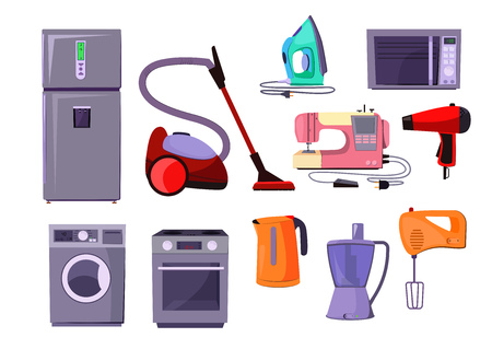 Home appliance illustration set. Fridge, oven, washing machine. Equipment concept. Can be used for topics like household, kitchen, cleaning