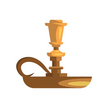 Empty gold candle holder illustration. Antique, candlestick, fire. Interior concept. Vector illustration can be used for topics like decoration, luxury, vintage