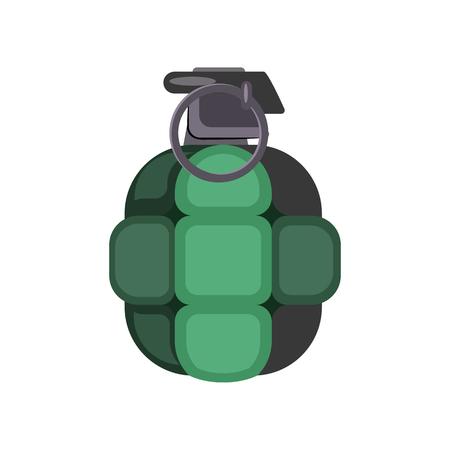 Green grenade illustration  Danger, explosion, bomb  Weapon concept