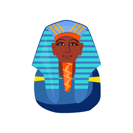 Pharaoh head vector illustration. Historic, ancient, antique. Ancient Egypt concept. Cartoon illustration can be used for topics like history, museum, souvenir