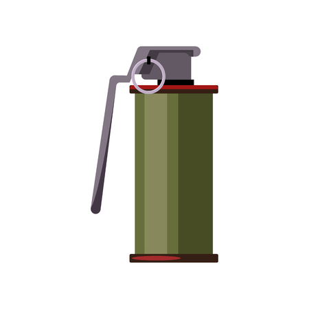 Stun grenade illustration. Danger, explosion, bomb. Weapon concept. Vector illustration can be used for topics like army, war, defense