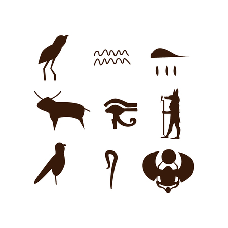 Egyptian hieroglyphic set illustration. Historic, ancient, antique. Ancient Egypt concept. Vector illustration can be used for topics like history, museum, souvenir Illustration