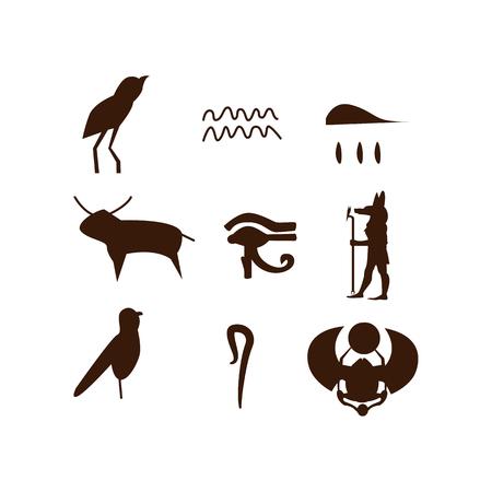 Illustration de jeu hiéroglyphique égyptien. Historique, ancien, antique. Concept de l'Egypte ancienne. L'illustration vectorielle peut être utilisée pour des sujets comme l'histoire, le musée, le souvenir
