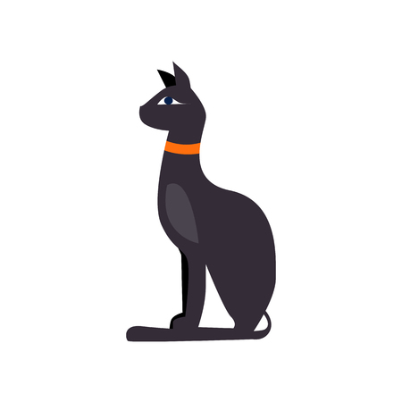 Egyptian black cat vector illustration. Historic, ancient, antique. Ancient Egypt concept. Cartoon illustration can be used for topics like history, museum, souvenir