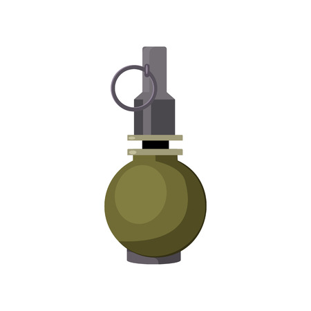 Ball grenade illustration. Danger, explosion, bomb. Weapon concept. Vector illustration can be used for topics like army, war, defense