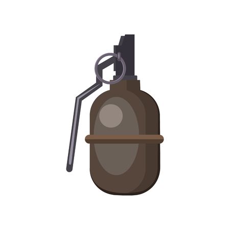 Brown hand grenade illustration. Danger, explosion, bomb. Weapon concept. Vector illustration can be used for topics like army, war, defense