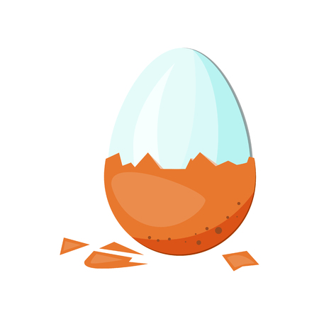 Cleaned egg illustration. Eating, morning, breakfast. Food concept. Vector illustration can be used for topics like supermarket, natural food, farm