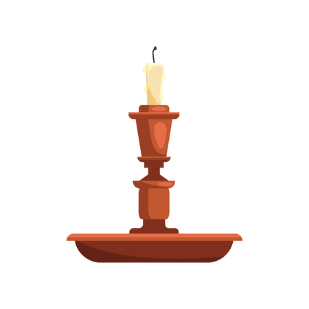 Dark bronze candle holder illustration. Antique, candlestick, fire. Interior concept. Vector illustration can be used for topics like decoration, luxury, vintage  イラスト・ベクター素材