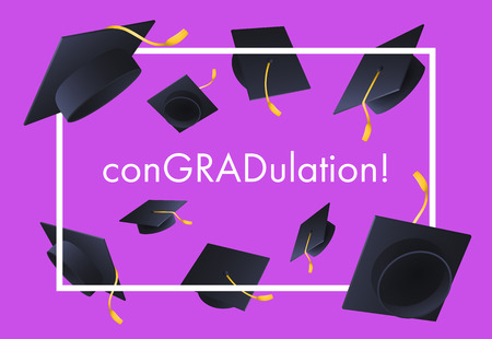 ConGRADulation festive banner design. Text in frame and flying graduation caps on violet background. Illustration can be used for posters, flyers, ceremony announcement