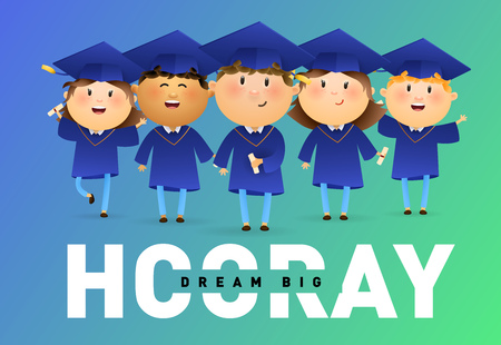Dream Big, Hooray banner design. Joyful graduates holding diplomas and celebrating on blue and green background. Illustration can be used for banners, flyer, celebrating
