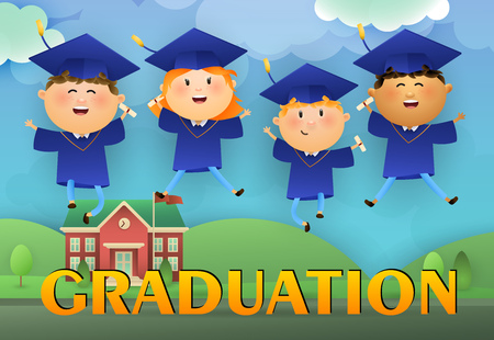 Graduation poster design. Jumping graduates wearing mortarboards and gowns, college and lawn in background. Illustration can be used for banners, flyer, commencement ceremony