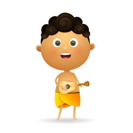 Positive man playing ukulele. Happy Hawaiian boy playing guitar and singing. Can be used for topics like culture, vacation, folk