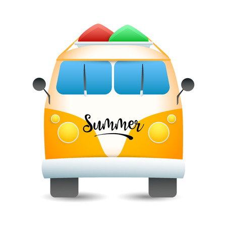 Van with surfboards on roof. Retro beach bus for surfers. Can be used for topics like vacation, summer, camping