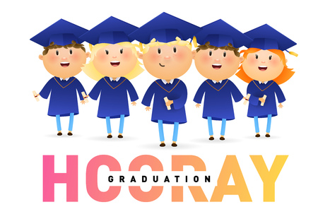 Hooray, Graduation banner design. Joyful graduates in hats and gowns holding diplomas isolated on white. Illustration can be used for banners, flyer, celebrating