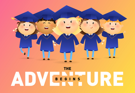 The adventure begins banner design. Happy graduates holding diplomas and celebrating on red and orange background. Illustration can be used for banners, flyer, commencement ceremony