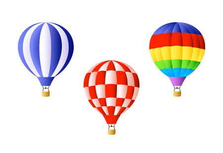 Hot air balloon set. Bright colorful hot air balloons on white background. Can be used for topics like freedom, vacation, festival