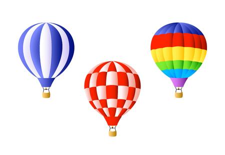 Juego de globos de aire caliente. Globos de aire caliente de colores brillantes sobre fondo blanco. Se puede utilizar para temas como libertad, vacaciones, festivales.