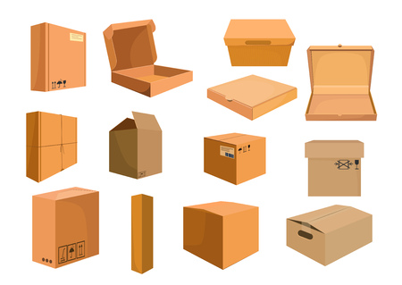 Cardboard boxes set. Collection for food delivery and furniture packaging. Can be used for topics like moving, delivery, distribution storage