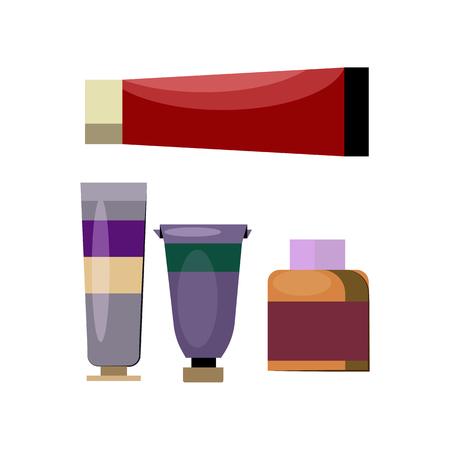 Tubes and jars with oil paints flat icon. Oil painting, art studio, artists equipment. Painting concept. Vector illustration can be used for topics like art, education, hobby