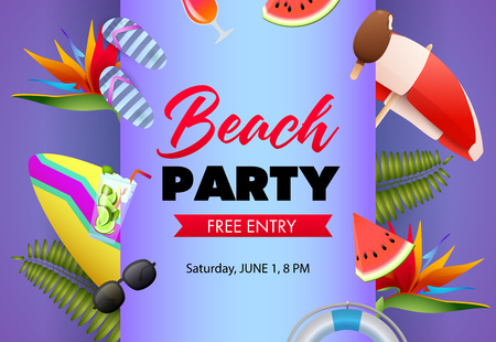 Beach party poster design. Flip-flops, watermelon, cocktail, surfboard and palm leaves on lilac background. Vector illustration can be used for banners, flyers, invitations