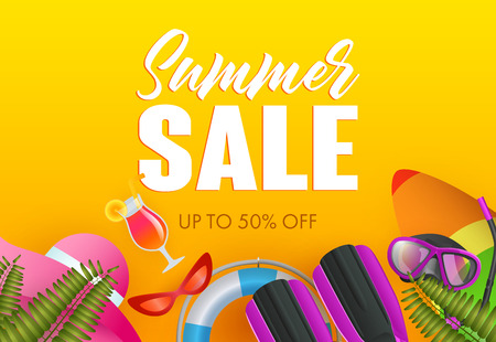 Summer sale colorful poster design. Lifebuoy, surfboard, summer hat, diving flippers on yellow background. Vector illustration can be used for banners, flyers, promo