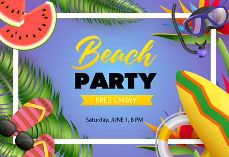 Beach party, free entry poster design. Flip-flops, watermelon, diving mask, surfboard and text in frame on blue background. Vector illustration can be used for banners, flyers, invitations