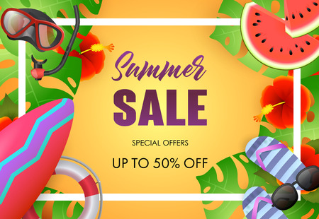 Summer sale bright poster design. Sunglasses, tropical leaves, surfboard, diving mask and text in frame on yellow background. Vector illustration can be used for banners, flyers, ads