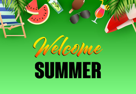 Welcome summer bright poster design. Beach chair, sun umbrella, cocktail, ice cream, watermelon on green background. Vector illustration can be used for banners, flyers, greeting cards