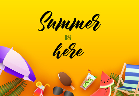 Summer is here bright poster design. Ice cream, watermelon, cocktail, sun umbrella on yellow background. Vector illustration can be used for banners, flyers, greeting cards
