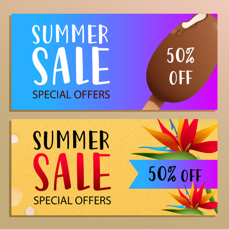 Summer sale banner design with tropical flowers on beach sand. Bright 50 percent off sticker and ice cream on blue and violet background. Vector illustration can be used for posters, flyers, coupons