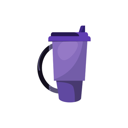 Violet thermal mug with lid and handle. Hot or cold takeaway drink in portable cup. Takeaway cups concept. Vector illustration can be used for topics like beverage, hiking, travel