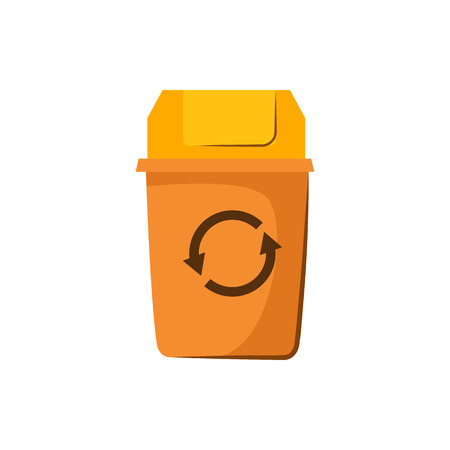 Yellow trashcan with lid. Container for garbage with recycling sign. Vector illustration can be used for topics like rubbish, litter, dustbin Ilustracja