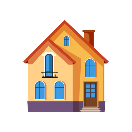 Three storey yellow house vector illustration. Home, rent, residential house. Suburban houses concept. Vector illustration can be used for topics like architecture, construction, mortgage