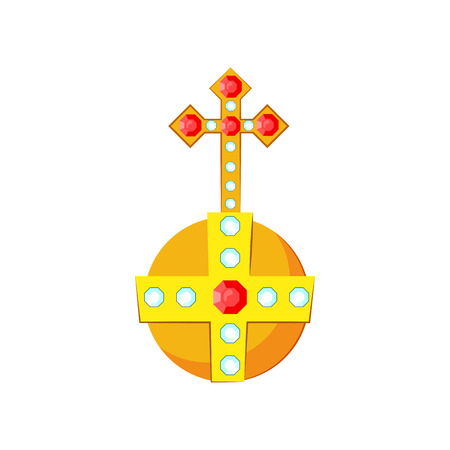 Golden orb with gemstones vector illustration. Symbol of power, monarch, king. Monarchy attributes concept. Vector illustration can be used for topics like history, kingdom, monarchy