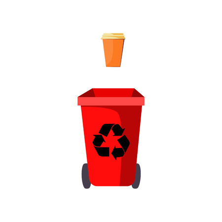 Red trash bin and disposable cup. Container for paper waste with recycling sign and wheels. Vector illustration can be used for topics like waste sorting, garbage, ecology