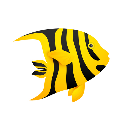 Ocean angel fish. Bright yellow fish with black stripes. Sea concept Realistic vector illustration can be used for vacation, beach, diving, sea life