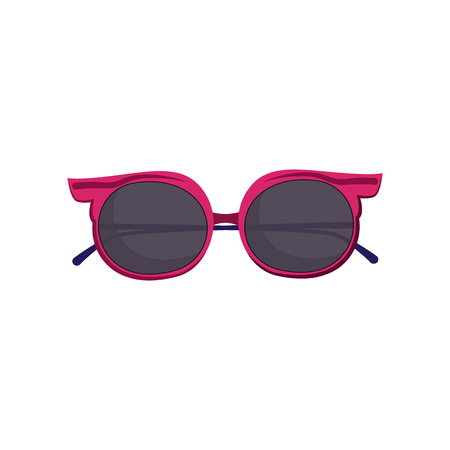 Cool sunglasses for girls. Summer eyewear with black lens and pink frame. Vector illustration can be used for topics like vacation, beach, sun, eye protection Ilustração