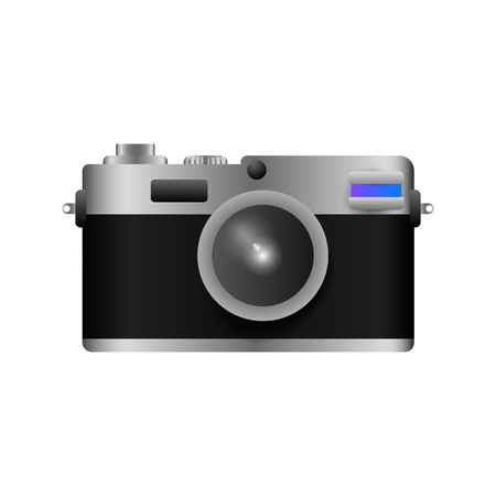 Compact camera. Photo, photography, device. Tourism concept Realistic vector illustration can be used for vacation, travel, landmarks