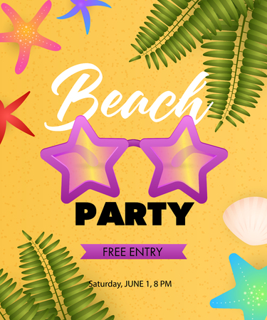 Beach Party lettering with star shaped sunglasses. Tourism, summer or invitation design. Handwritten and typed text, calligraphy. For leaflets, brochures, invitations, posters or banners.
