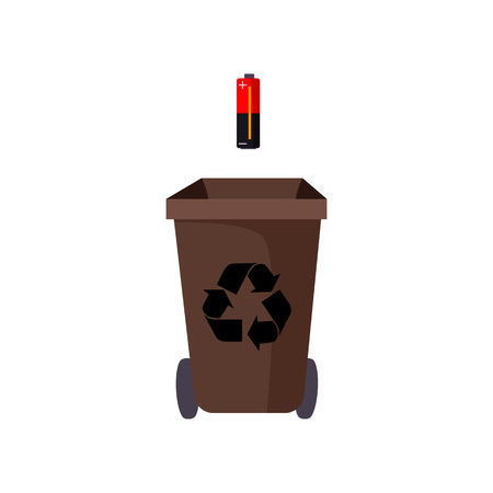 Brown trashcan and battery. Refuse container with recycling sign and wheels. Garbage concept. Vector illustration can be used for topics like waste sorting, environment, garbage